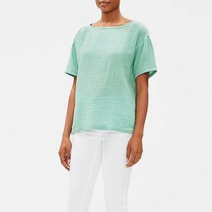 Eileen Fisher Organic Cotton Gauze Bateau Neck Top